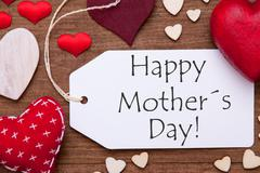 One Label, Red Hearts, Happy Mothers Day, Macro - stock photo