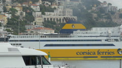 Pan view of a ferry moored in the port of Nice Stock Footage