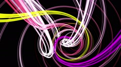 Rotating strings in spiral in various colors on black Stock Footage