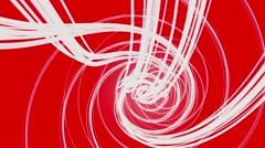 Rotating strings in spiral in white color on red Stock Footage