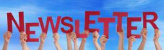 Many People Hands Holding Red Word Newsletter Blue Sky Stock Photos
