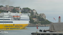 Ferry departs from the port of Nice on a cloudy day - stock footage