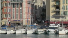 Boats moored in Port Lympia, near L'Escale and L'Oree du Port restaurants, Nice Stock Footage