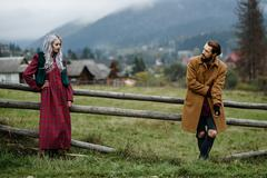Pair of lovers in the Carpathian mountains Stock Photos