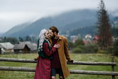 Stock Photo of pair of lovers in the Carpathian mountains