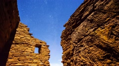 Ancient Native American Ruins and Stars at Night, Timelapse Stock Footage