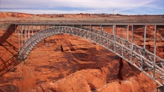 Glen Canyon Dam Arch Bridge Stock Footage