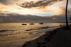 Golden sunrise over ocean in Dominican Republic, Bavaro Beach Kuvituskuvat
