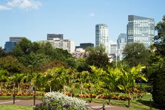 Boston Common Park Gardens with Boston Skyline - stock photo