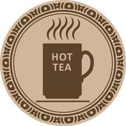 Cup of hot tea icon into decorative round frame Stock Illustration