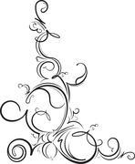 Ornamental floral corner. Vector illustration for your design or tattoo Stock Illustration