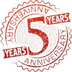Stock Illustration of Vintage anniversary 5 years round grunge round stamp. Retro styled vector ill