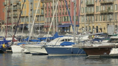 Motorboats anchored in Port Lympia in Nice Stock Footage