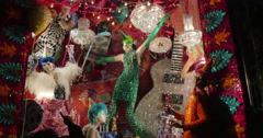 4K, Christmass decorations from store windows on 5 Ave, Manhattan, NYC Stock Footage