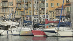 Motorboats moored in Port Lympia in Nice Stock Footage