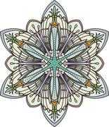 Abstract vector color round lace design - mandala, ethnic decorative element. Stock Illustration