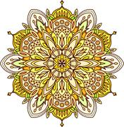 Abstract vector color round lace design - mandala, ethnic decorative element. - stock illustration
