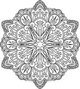 Stock Illustration of Abstract vector black round lace design - mandala, ethnic decorative element.