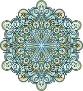 Abstract vector color round lace design in mono line style - mandala, ethnic  Stock Illustration