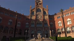 Hospital of the Holy Cross and Saint Paul main building, dolly out shot Stock Footage