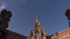Hospital of Holy Cross in Barcelona, front entrance building, dolly shot. Stock Footage
