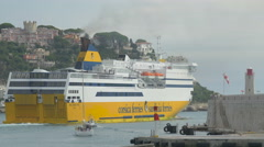 Ferry from Corsica and Sardinia Ferries departs from the port of Nice Stock Footage