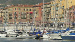 Sailboats moored in Port Lympia in Nice Stock Footage