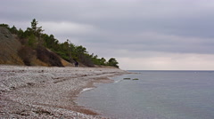 4K Time Lapse, Pebble beach on the island of Gotland during winter Stock Footage