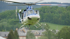 Helicopter take off in the landscape. Stock Footage