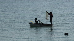 Traditional african fisherman casting a net - Red Sea, Sudan Stock Footage
