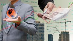 Global economy concept, Businessman get money from global property industry - stock photo