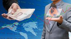 Businessman withdrawal from internet banking, Global economy concept - stock photo