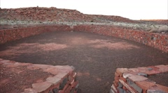 Ceremonial Ball Court Ruins at Wupatki National Monument Stock Footage