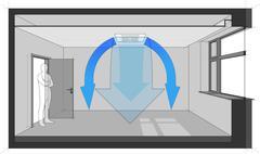 Ceiling air conditioning unit diagram Stock Illustration