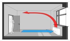 Wall fan coil unit diagram Stock Illustration