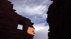 American Indian Ruins in Silhouette Against Sky - stock footage