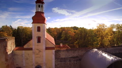 Long tower on the gate of the Poltsamaa castle Stock Footage