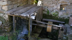 Etar - Ethnographic museum Water mechanisms - water drives the rotor Stock Footage