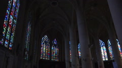 Stained glass windows in a french church - low angle, panoramic shot 2 Stock Footage