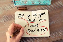 Text Let Go Of Your Fear and Dive Head First - stock photo