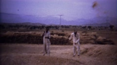 1973: Arab rural men primitive wind sorting grain seeds. Stock Footage