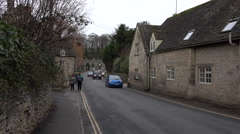 Bibury Cotswolds England traffic narrow old road 4K Stock Footage