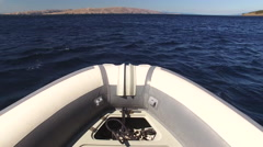 Speed motorboat riding at sea - view from boat - stock footage