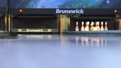 Brunswick bowling club, close up pins view Stock Footage