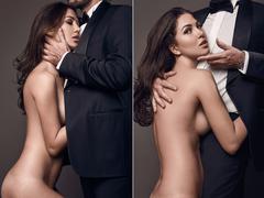 Fashionable portrait of elegant sexy couple in studio Stock Photos