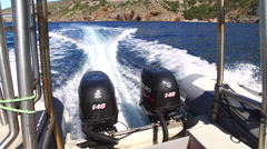 Motor boat engine working at sea - view from boat Stock Footage