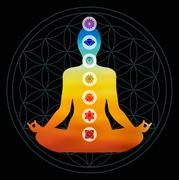 Stock Illustration of Chakra icons on colorful body silhouette
