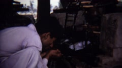 1973: Arab man hand drinking primitive water well. Stock Footage