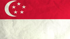 Singaporean flag waving in the wind (full frame footage) Arkistovideo