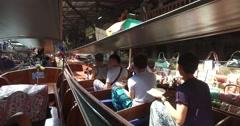 Damnoen Saduak Floating Market in Ratchaburi,Bangkok  Thailand POV 4K Stock Footage